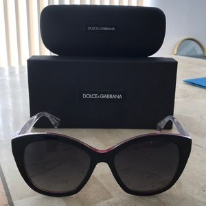 Dolce & Gabbana pink black clear cat eye sunnies